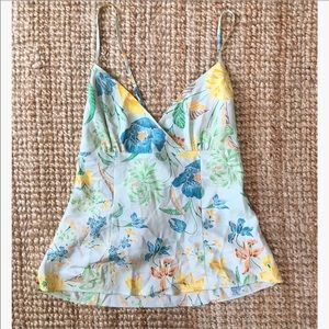 Banana republic 100% silk vintage floral tank top